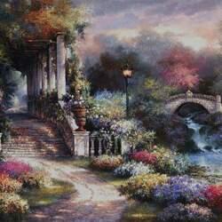 Пазл онлайн: Сад для отдыха души