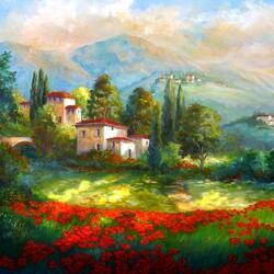 Пазл онлайн: Деревня с маковым полем