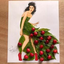 Пазл онлайн: Сделано из вишни и листьев