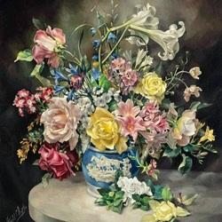 Пазл онлайн: Букет в терракотовой вазе