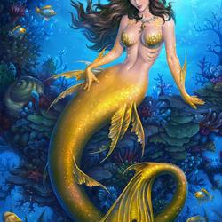 Пазл онлайн: Золотая русалка