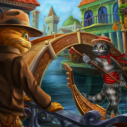 Пазл онлайн: Коты в Венеции