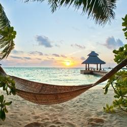 Пазл онлайн: Гамак на пляже