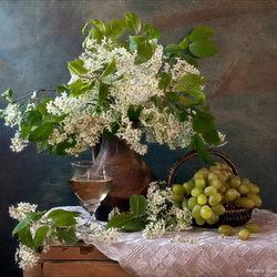 Пазл онлайн: Черёмуха и виноград