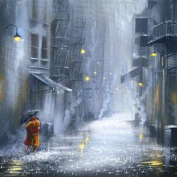 Пазл онлайн: Под светом уличных ламп