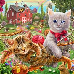 Пазл онлайн: Котятки на ферме