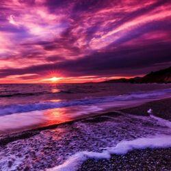 Пазл онлайн: Закат в море