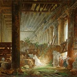 Пазл онлайн: Отшельник молится на руинах римского храма