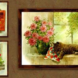 Пазл онлайн: Кошки на окошках