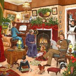 Пазл онлайн: Семейное Рождество