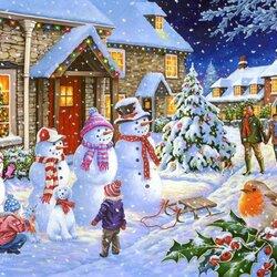 Пазл онлайн: Семейка снеговичков