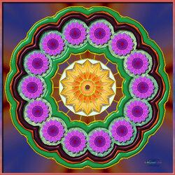 Пазл онлайн: Мандала абстрактных цветов