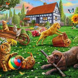 Пазл онлайн: Щенята и котята