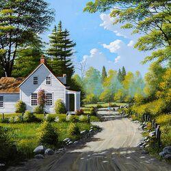 Пазл онлайн: Дом у дороги