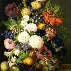 Пазл онлайн: Букет цветов и гнездо с птенцами