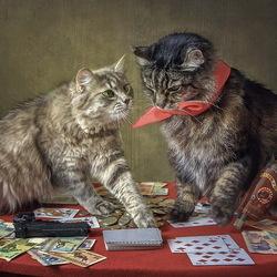 Пазл онлайн: Карты, деньги, два кота