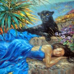 Пазл онлайн: Девушка и пантера