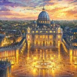 Пазл онлайн: Закат над Ватиканом