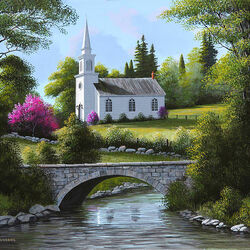 Пазл онлайн: Церковь у моста