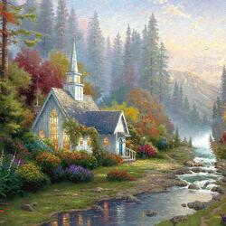 Пазл онлайн: Церковь в лесу