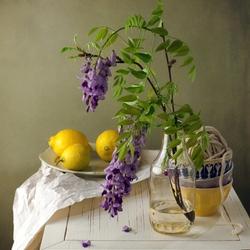 Пазл онлайн: Весенние цветы и лимоны