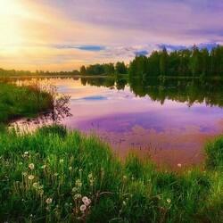Пазл онлайн: Тихий вечер на реке