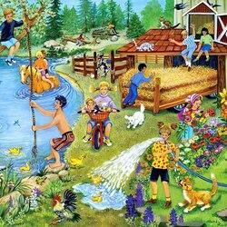 Пазл онлайн: Летние забавы на ферме