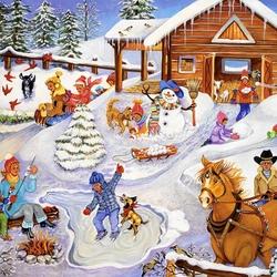 Пазл онлайн: Зимние забавы на ферме