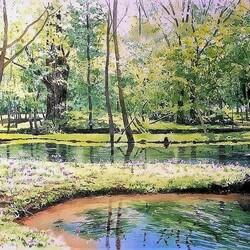 Пазл онлайн: Деревья и вода