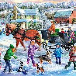 Пазл онлайн: Игра в снежки