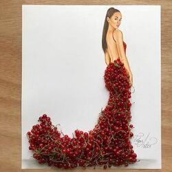 Пазл онлайн: Платье из красной смородины