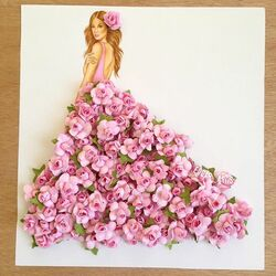 Пазл онлайн: Платье из розовых цветов