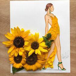 Пазл онлайн: Платье из подсолнухов