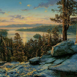 Пазл онлайн: Рассвет на озере Тахо