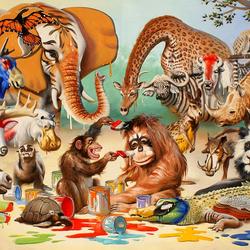 Пазл онлайн: Разноцветный зоопарк