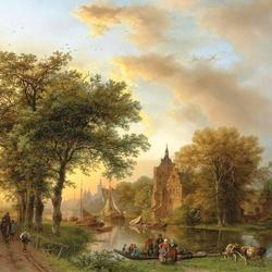 Пазл онлайн: Речной пейзаж в Голландии на закате