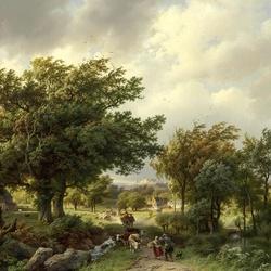 Пазл онлайн: Дорога среди деревьев