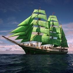 Пазл онлайн: Зелёные паруса
