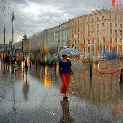 Пазл онлайн: Летний дождь в Петербурге