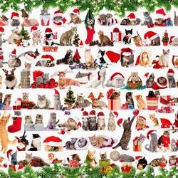 Пазл онлайн: Новогодние коты
