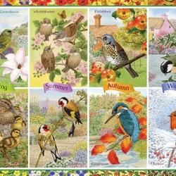 Пазл онлайн: Птичий календарь