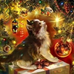 Пазл онлайн: Мечта котенка