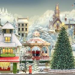 Пазл онлайн: Рождество в городке