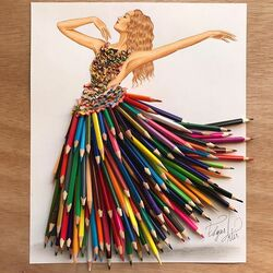 Пазл онлайн: Изготовлено из цветных карандашей