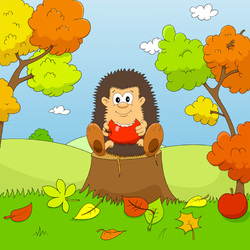 Пазл онлайн:  Сяду на пенёк, съем яблочко