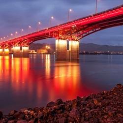 Пазл онлайн: Вечерний мост через Енисей