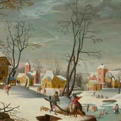 Пазл онлайн: Деревенский зимний пейзаж