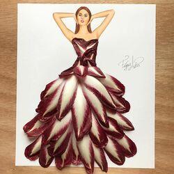 Пазл онлайн: Платье из красного эндивия