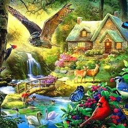 Пазл онлайн: Лесной коттедж