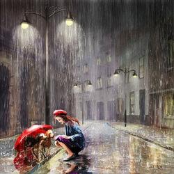 Пазл онлайн: Дождливый город